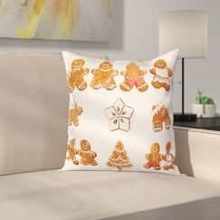 Gingerbread Man Cute House Tree Square Pillow Cover Size: 20