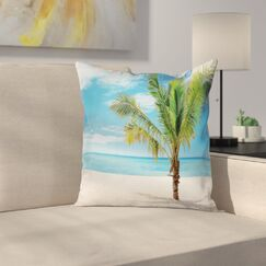 Coconut Palm at Beach Square Pillow Cover Size: 18