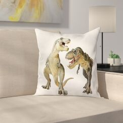 Dinosaur T-Rex Pair Predators Square Cushion Pillow Cover Size: 16