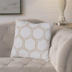 Elencourt Linen Throw Pillow Color: Light Gray/Beige, Size: 20
