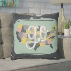 Bainum Go Throw Pillow Color: Black, Size: 22
