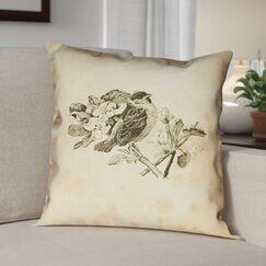 Venezia Vintage Bird Double Sided Throw Pillow Size: 14