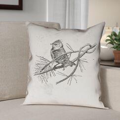Venezia Vintage Bird Pillow Cover Size: 18