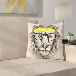 Hipster Lion Throw Pillow Color: Gray