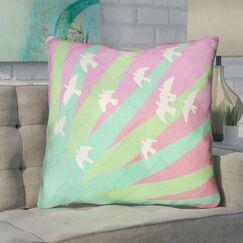 Enciso Birds and Sun Throw Pillow with Zipper Size: 26