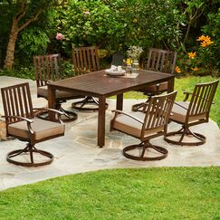 Yandel Bridgeport Motion 7 Piece Dining Set with Cushions Cushion Color: Green