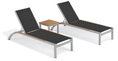 Saint-Pierre 3 Piece Reclining Chaise Lounge with Table Color: Ninja