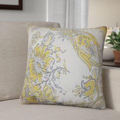 Shilpa Floral Linen Throw Pillow Color: Yellow