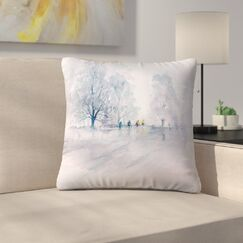 Country Cyclists Throw Pillow Size: 16