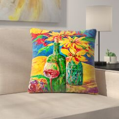 Sunshine Taylor Wine and Flowers Indoor/Outdoor Throw Pillow Size: 14