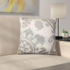 Driskill Stukes Floral Cotton Throw Pillow Color: Light  Gray