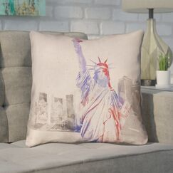 Houck Watercolor Statue of Liberty Square Zipper Throw Pillow Size: 26