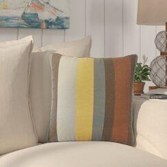 Tahsha Stripes Cotton Throw Pillow Color: Gray