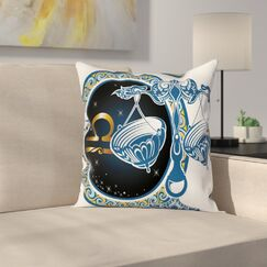 Zodiac Libra Astrological Square Pillow Cover Size: 20
