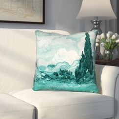 Woodlawn Teal Wheatfield with Cypresses Outdoor Throw Pillow Size: 18