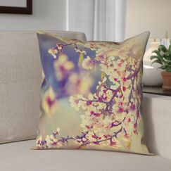 Ghost Train Cherry Blossoms Floral Pillow Cover Size: 18