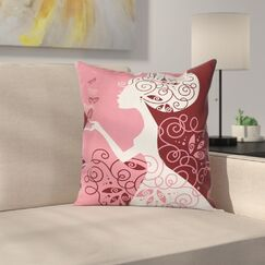 Girl Butterflies Flowers Square Pillow Cover Size: 18
