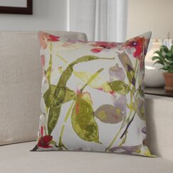Boyster Floral Cotton Throw Pillow Color: Berry, Size: 18