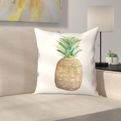 Jetty Printables Pineapple Watercolor Throw Pillow Size: 18
