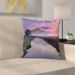 Nature Misty Sunrise on River Square Pillow Cover Size: 18