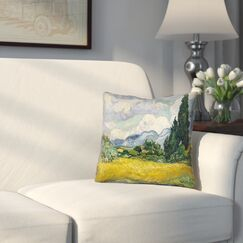 Woodlawn Wheatfield with Cypresses Square Throw Pillow Size: 14