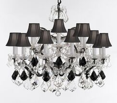 Borunda 18-Light Crystal Chandelier Shade Color: Black, Size: 28