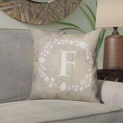 Orme Wreath Monogram Throw Pillow Letter: F