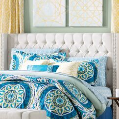 Candice Upholstered Wingback Headboard Size: Queen, Upholstery: Cream