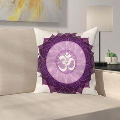 Arabic Letter Chakra Square Pillow Cover Size: 24