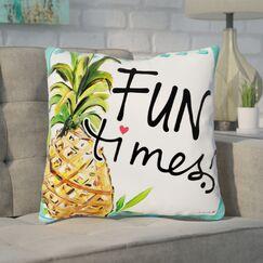 Daugherty Tropical Fun Times Throw Pillow Size: 16