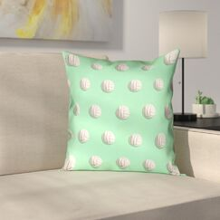 Volleyball Suede Pillow Cover Size: 16