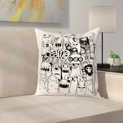 Welcoming Monster Figures Square Cushion Pillow Cover Size: 24