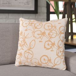 Ellen Bicycle Print Throw Pillow Color: Rust / Ivory, Size: 22