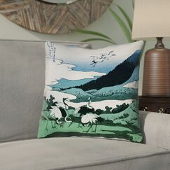 Montreal Japanese Cranes 100% Cotton Throw Pillow Size: 18