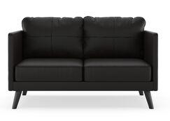 Schill Vegan Loveseat Finish: Black, Upholstery: Onyx