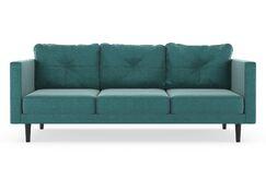 Cozad Mod Velvet Sofa Upholstery: Steel Blue, Finish: Walnut