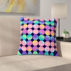 Noonday Design Colorful Watercolor Octagons Abstract Outdoor Throw Pillow Size: 18