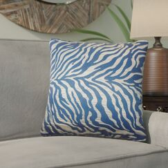 Woroud Zebra Print Throw Pillow Color: Blue