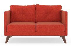 Covey Cross Weave Loveseat Upholstery: Raven Gray, Finish: Walnut