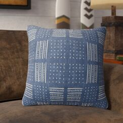 Couturier Geometric Throw Pillow with Zipper Color: Indigo, Size: 16