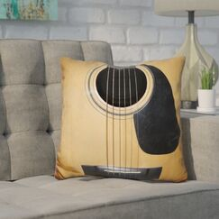 Corktown Guitar Throw Pillow Color: Yellow