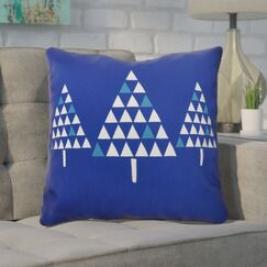 Christmas Trees Outdoor Throw Pillow Color: Royal Blue, Size: 18