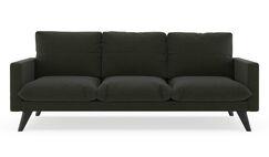 Crabb Linen Weave Sofa Finish: Black, Upholstery: Blue Lagoon