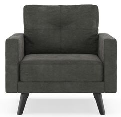 Courtney Micro Suede Armchair Finish: Black, Upholstery: Mocha