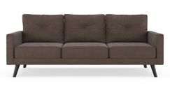 Courtney Microsuede Sofa Upholstery: Charcoal, Finish: Walnut
