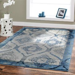 Baypoint Modern Blue/Cream Area Rug Rug Size: Rectangle 8' x 11'