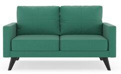 Cowell Oxford Weave Loveseat Upholstery: Smoke, Finish: Walnut