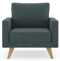 Cowell Oxford Weave Armchair Upholstery: Pebble, Finish: Walnut