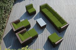 Baril 11 Piece Rattan Sunbrella Sofa Set with Cushions Cushion Color: Sunbrella Macaw