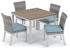 Saleh 5 Piece Dining Set with Cushions Cushion Color: Ice Blue